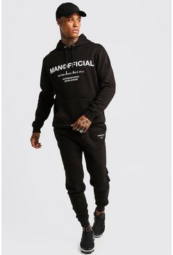 Mens Black MAN Official Hooded Tracksuit