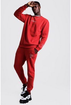 Mens Red MAN Drop Shoulder Limited Edition Sweater Tracksuit
