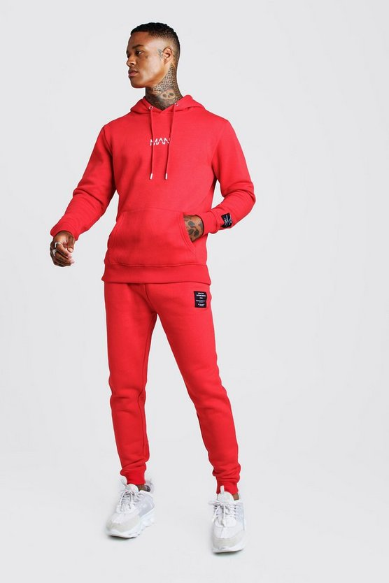 Mens Red MAN AW Hooded Tracksuit