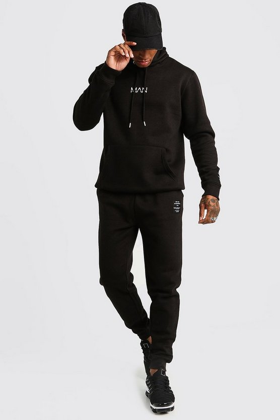 Mens Black MAN AW Hooded Tracksuit