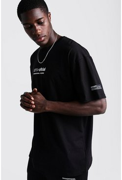 Mens Black MAN Oversized T-Shirt With Woven Badge Detail