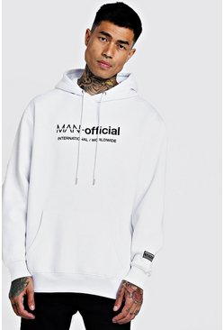 Mens White MAN Loose Fit Woven Badge Hoodie
