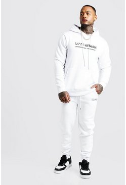 Mens White MAN Woven Badge Hooded Tracksuit