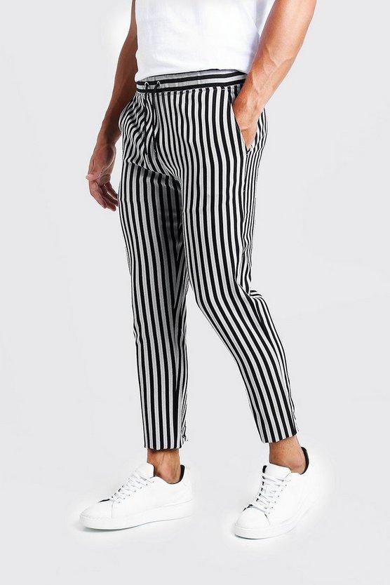 Herringbone Stripe Smart Cropped Jogger Trouser by Boohoo Man
