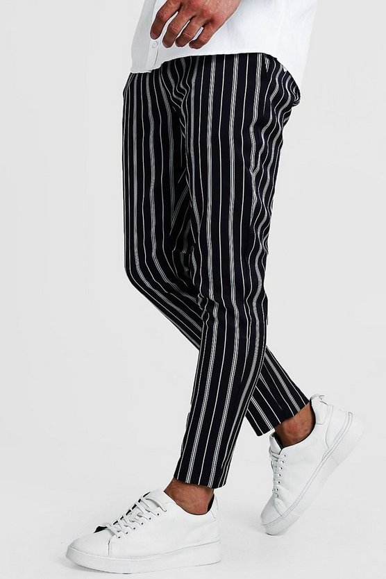 Mens Navy Herringbone Stripe Smart Cropped Jogger Trouser
