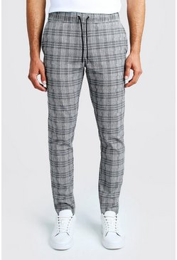 Mens Black Jaspe Check Smart Jogger Trouser