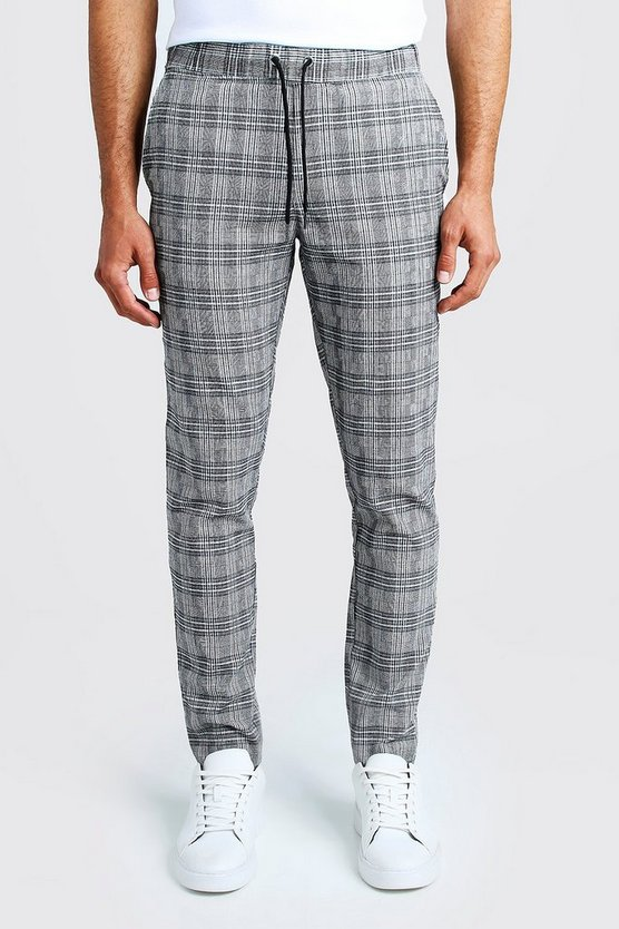 Jaspe Check Smart Jogger Trouser by Boohoo Man