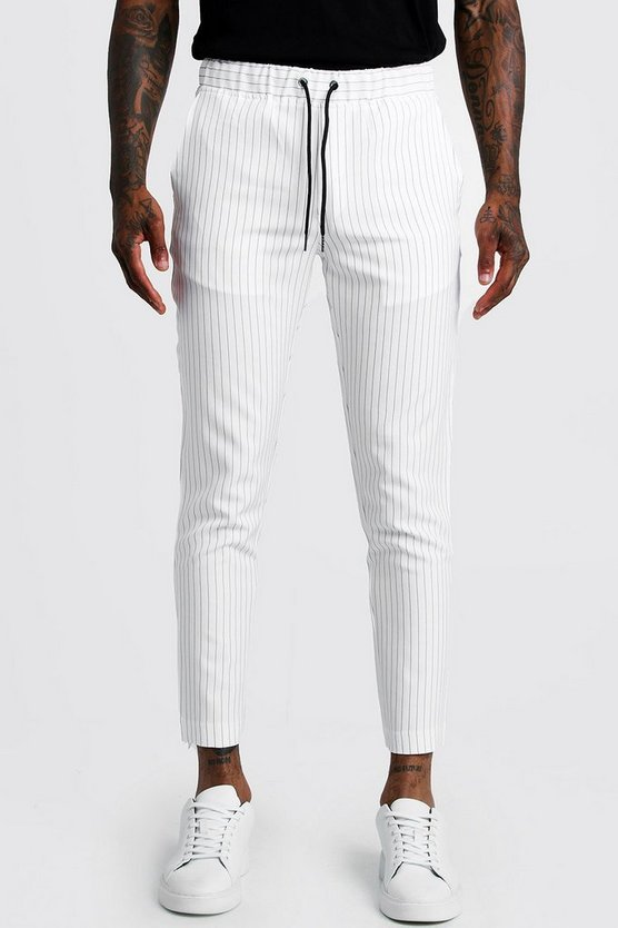 Mens White Pinstripe Cropped Smart Jogger Trouser