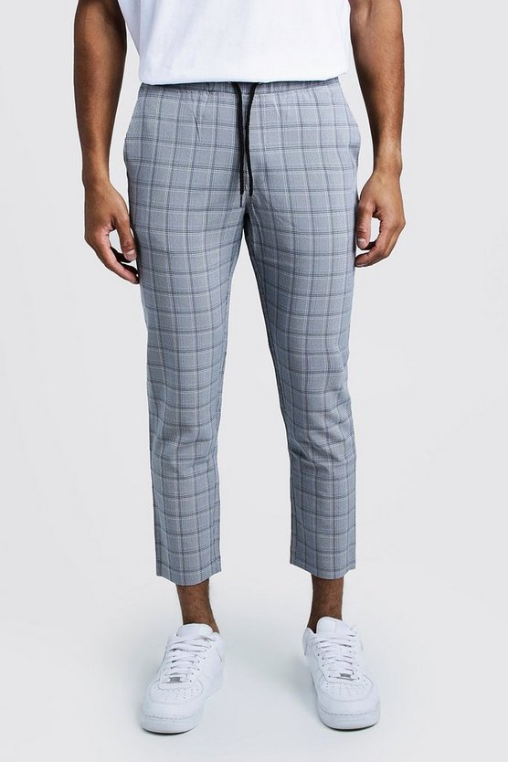 Mens Navy Check Smart Cropped Jogger Trouser