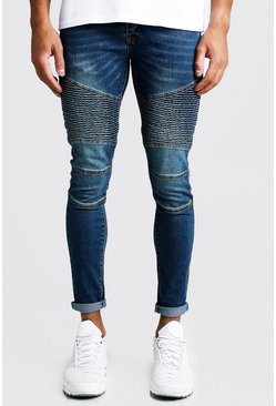 Mens Mid blue Super Skinny Zip Detail Biker Jeans