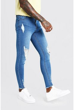 Pale Blue Super Skinny Jeans With Raw Hem