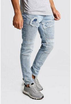 Mens Light blue Skinny Fit Worn Biker Denim Jean