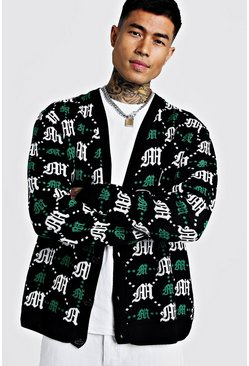 Mens Green Oversized Gothic M All Over Print Knitted Cardigan