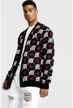 Mens Red Oversized Gothic M All Over Print Knitted Cardigan