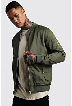 Mens Khaki Cotton MA1 Bomber Jacket
