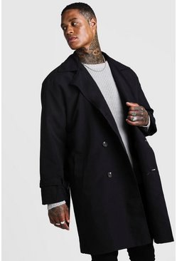 Mens Black Oversized Check Lined Trench Coat