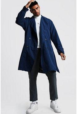Mens Navy Oversized Check Lined Trench Coat