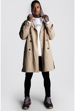 Mens Sand Oversized Check Lined Trench Coat
