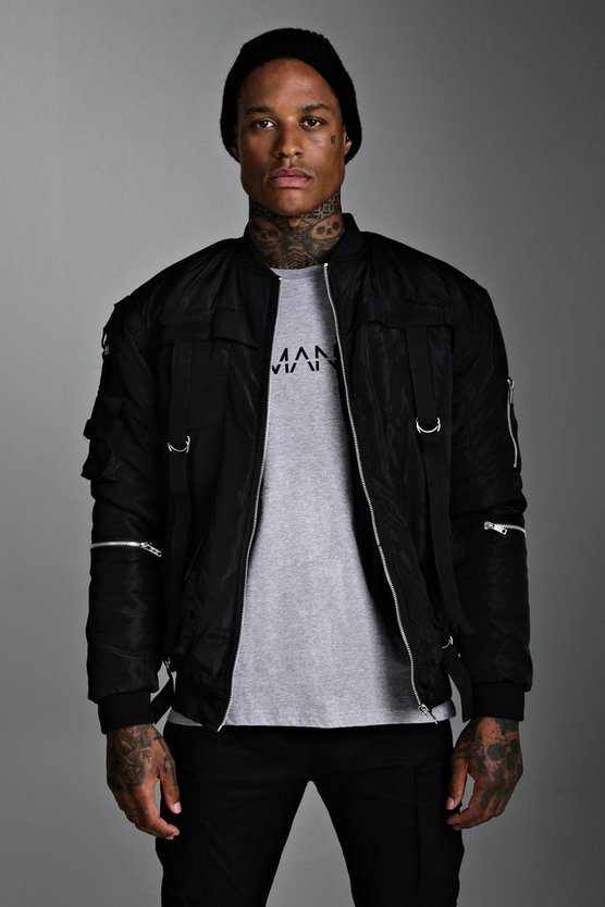 Mens Black Padded Utility Bomber Jacket With Straps