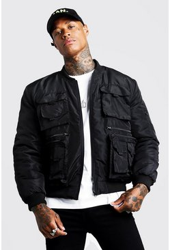 Mens Black Utility Bomber Jacket
