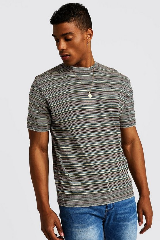 Mens Multi Coloured Knitted T-Shirt