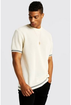 Mens Cream Crew Neck Knitted T-Shirt With Tipping