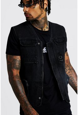 Mens Washed black Denim Utility Vest With Zip Detail
