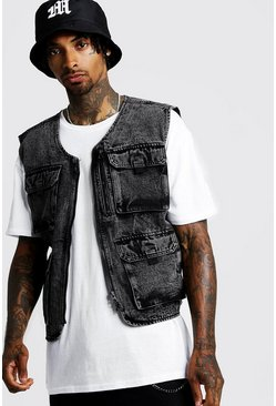 Mens Black Utility Vest In Acid Wash Denim