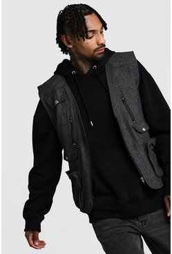 Charcoal Wool Look Utility Vest