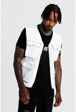 Mens White Utility Vest With Contrast Stitch