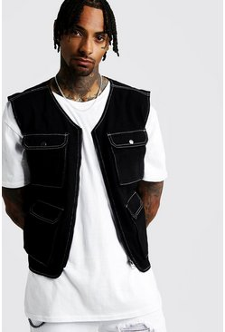 Mens Black Denim Utility Vest With Contrast Stitch