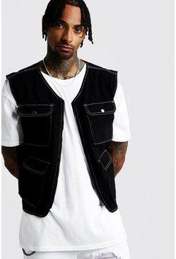 Black Denim Utility Vest With Contrast Stitch