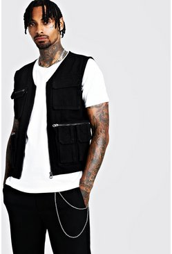 Mens Black Denim Multi Pocket Utility Vest
