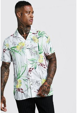 Mens White Floral Print Short Sleeve Revere Shirt