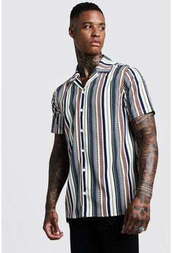 Mens White Aztec Stripe Short Sleeve Revere Shirt