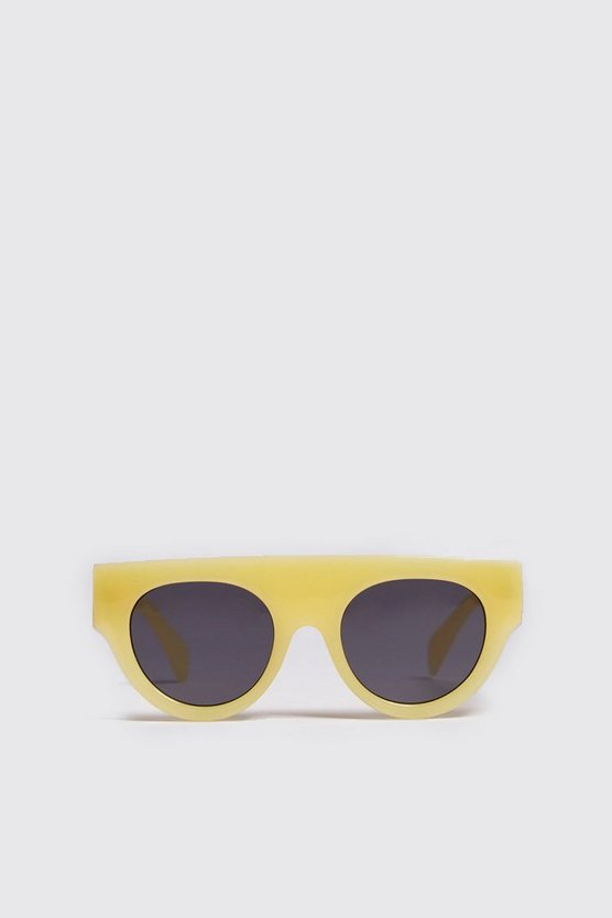 Mens Yellow Oversized Acetate Sunglasses