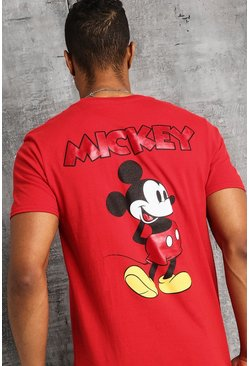 Mens Red Disney Front And Back Print Mickey T-Shirt