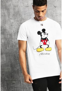 Mens White Disney Angry Mickey Print T-Shirt