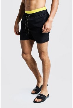 Mens Black Contrast Waistband Mid Length Short