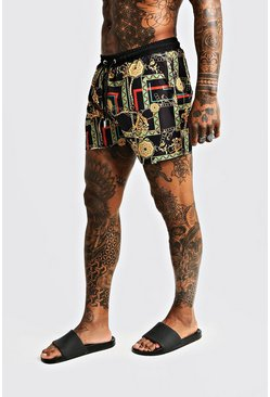 Mens Multi Chain Print Mid Length Swim Shorts