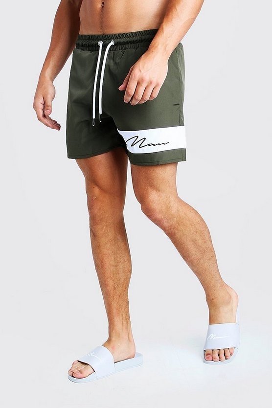 Mens Khaki MAN Signature Panelled Mid Swimshort