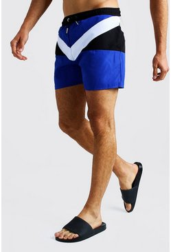 Mens Blue Colour Block Short Length Swimshort