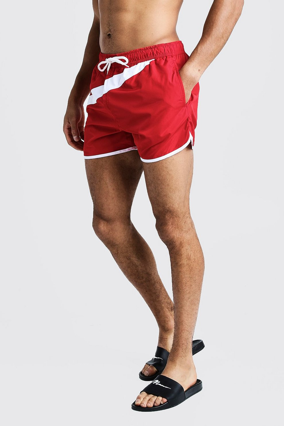 1ae64801b9 Colour Block Mid Length Swim Short | Boohoo