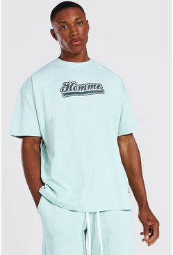 Oversized Homme Varsity T-shirt, Green