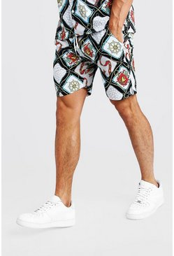 Mens White Multi Chain Print Mid Length Short