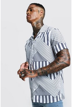 Mens White Chevron Print Short Sleeve Revere Shirt