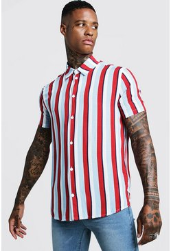 Vertical Stripe Short Sleeve Shirt, Red, HOMMES