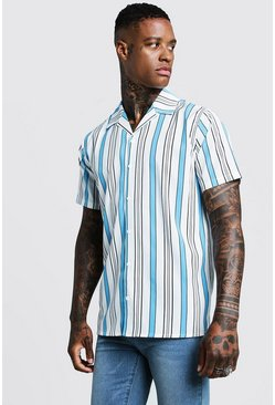 Vertical Stripe Short Sleeve Revere Shirt, White, HOMMES