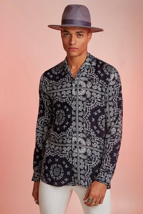Mens Navy Bandana Print Long Sleeve Revere Shirt