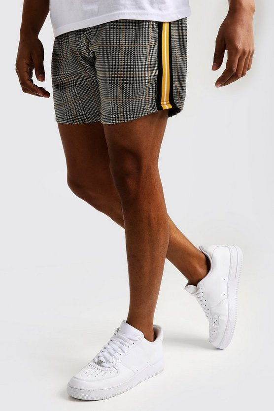 Mens Mustard Check Jacquard Short Length Tape Short